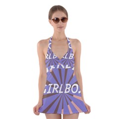 Girlboss Light Line Wave Chevron Halter Swimsuit Dress by Mariart