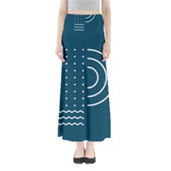 Parachute Water Blue Waves Circle White Maxi Skirts by Mariart