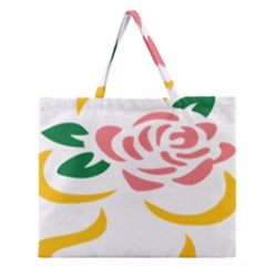 Pink Rose Ribbon Bouquet Green Yellow Flower Floral Zipper Large Tote Bag