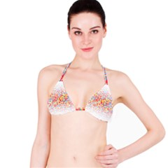 Random Sized Cube Multiple Plaid Color Rainbow Bikini Top