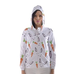 Rabbit Carrot Pattern Weft Step Face Hooded Wind Breaker (women)