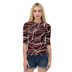 River System Line Brown White Wave Chevron Quarter Sleeve Tee