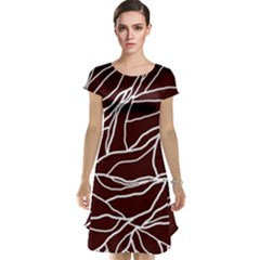 River System Line Brown White Wave Chevron Cap Sleeve Nightdress