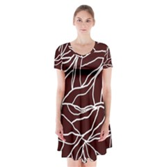 River System Line Brown White Wave Chevron Short Sleeve V Neck Flare Dress by Mariart