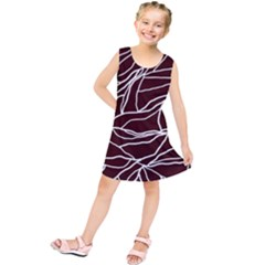 River System Line Brown White Wave Chevron Kids  Tunic Dress by Mariart