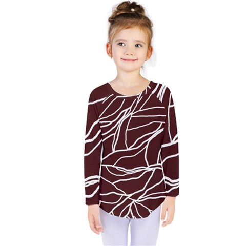 River System Line Brown White Wave Chevron Kids  Long Sleeve Tee by Mariart