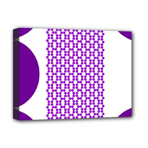 River Hyacinth Polka Circle Round Purple White Deluxe Canvas 16  X 12   by Mariart
