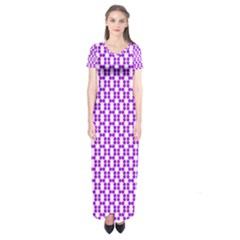 River Hyacinth Polka Circle Round Purple White Short Sleeve Maxi Dress