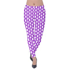 River Hyacinth Polka Circle Round Purple White Velvet Leggings