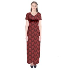 Red Snakeskin Snak Skin Animals Short Sleeve Maxi Dress
