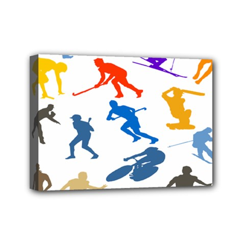 Sport Player Playing Mini Canvas 7  X 5