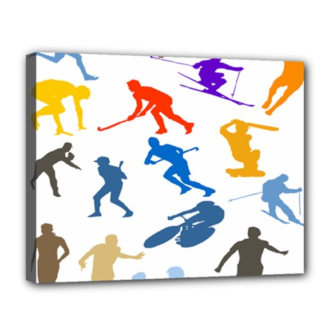 Sport Player Playing Canvas 14  X 11  by Mariart