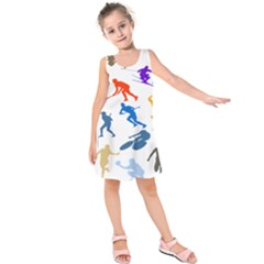 Sport Player Playing Kids  Sleeveless Dress by Mariart