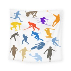 Sport Player Playing Square Tapestry (small) by Mariart