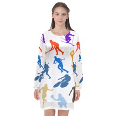 Sport Player Playing Long Sleeve Chiffon Shift Dress