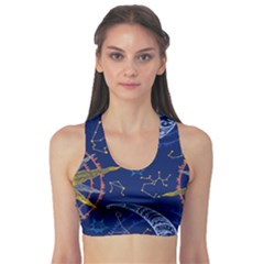 Sun Moon Seamless Star Blue Sky Space Face Circle Sports Bra by Mariart