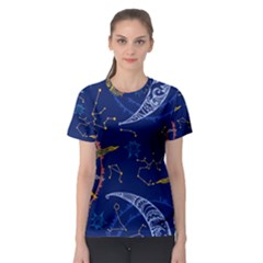 Sun Moon Seamless Star Blue Sky Space Face Circle Women s Sport Mesh Tee by Mariart