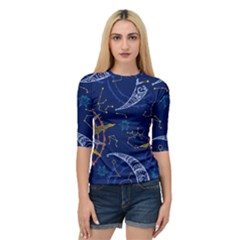 Sun Moon Seamless Star Blue Sky Space Face Circle Quarter Sleeve Tee by Mariart