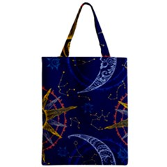 Sun Moon Seamless Star Blue Sky Space Face Circle Zipper Classic Tote Bag by Mariart