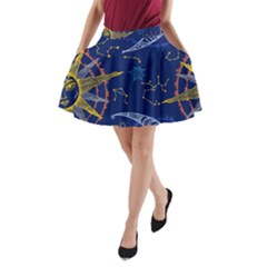 Sun Moon Seamless Star Blue Sky Space Face Circle A Line Pocket Skirt by Mariart
