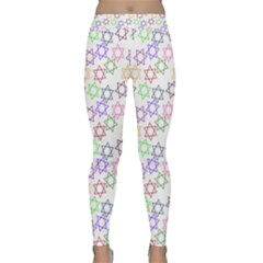Star Space Color Rainbow Pink Purple Green Yellow Light Neons Classic Yoga Leggings by Mariart