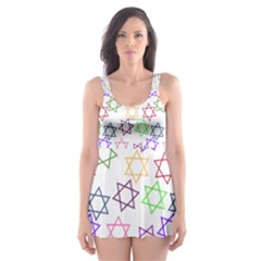 Star Space Color Rainbow Pink Purple Green Yellow Light Neons Skater Dress Swimsuit by Mariart