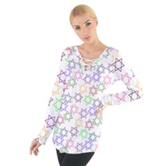 Star Space Color Rainbow Pink Purple Green Yellow Light Neons Women s Tie Up Tee by Mariart