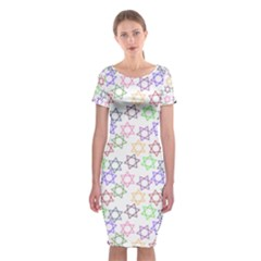 Star Space Color Rainbow Pink Purple Green Yellow Light Neons Classic Short Sleeve Midi Dress