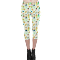 Kids Football Players Playing Sports Star Capri Leggings  by Mariart