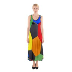 Team Soccer Coming Out Tease Ball Color Rainbow Sport Sleeveless Maxi Dress by Mariart