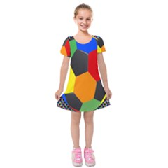 Team Soccer Coming Out Tease Ball Color Rainbow Sport Kids  Short Sleeve Velvet Dress by Mariart