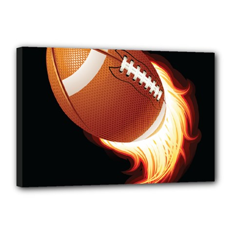 Super Football American Sport Fire Canvas 18  X 12  by Mariart