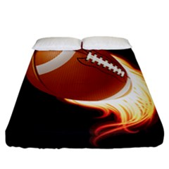 Super Football American Sport Fire Fitted Sheet (california King Size) by Mariart