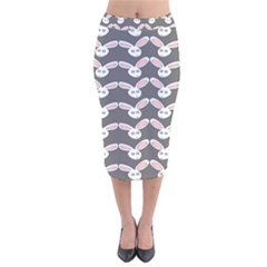 Tagged Bunny Illustrator Rabbit Animals Face Velvet Midi Pencil Skirt by Mariart
