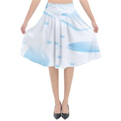 Water Drops Bubbel Rain Blue Circle Flared Midi Skirt