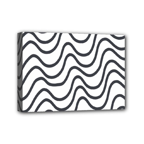 Wave Waves Chefron Line Grey White Mini Canvas 7  X 5  by Mariart