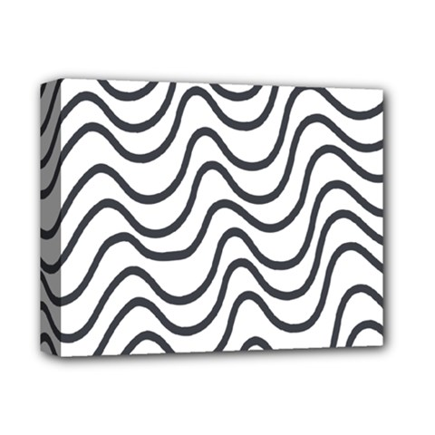 Wave Waves Chefron Line Grey White Deluxe Canvas 14  X 11  by Mariart