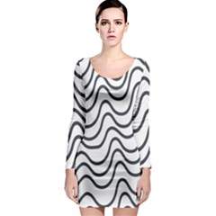 Wave Waves Chefron Line Grey White Long Sleeve Bodycon Dress by Mariart