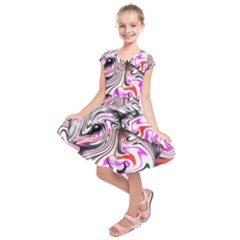 Wave Waves Chevron Rabbit Color Rainbow Pink Red Purple Animals Kids  Short Sleeve Dress by Mariart
