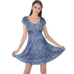 Blue Romantic Flower Pattern Denim Cap Sleeve Dresses