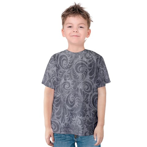 Grey Romantic Flower Pattern Denim Kids  Cotton Tee by Ivana