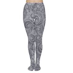 Grey Romantic Flower Pattern Denim Women s Tights by Ivana