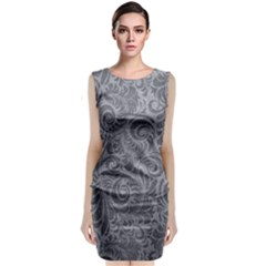 Grey Romantic Flower Pattern Denim Sleeveless Velvet Midi Dress