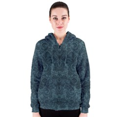 Teal Romantic Flower Pattern Denim Women s Zipper Hoodie by Ivana