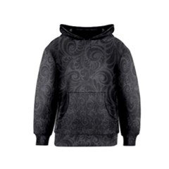 Black Romantic Flower Pattern Denim Kids  Pullover Hoodie by Ivana