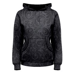 Black Romantic Flower Pattern Denim Women s Pullover Hoodie by Ivana