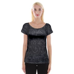 Black Romantic Flower Pattern Denim Women s Cap Sleeve Top by Ivana