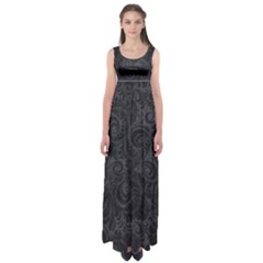 Black Romantic Flower Pattern Denim Empire Waist Maxi Dress