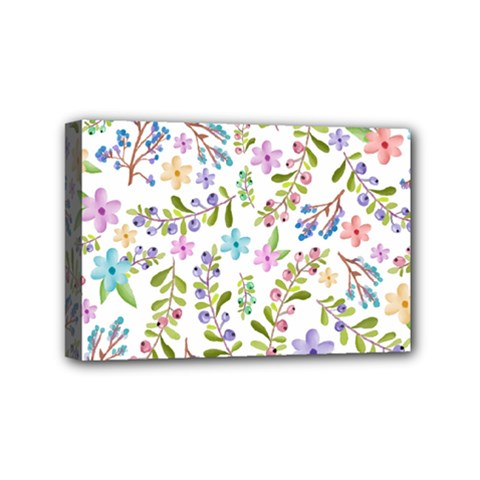 Twigs And Floral Pattern Mini Canvas 6  X 4  by Coelfen