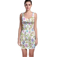 Twigs And Floral Pattern Sleeveless Bodycon Dress